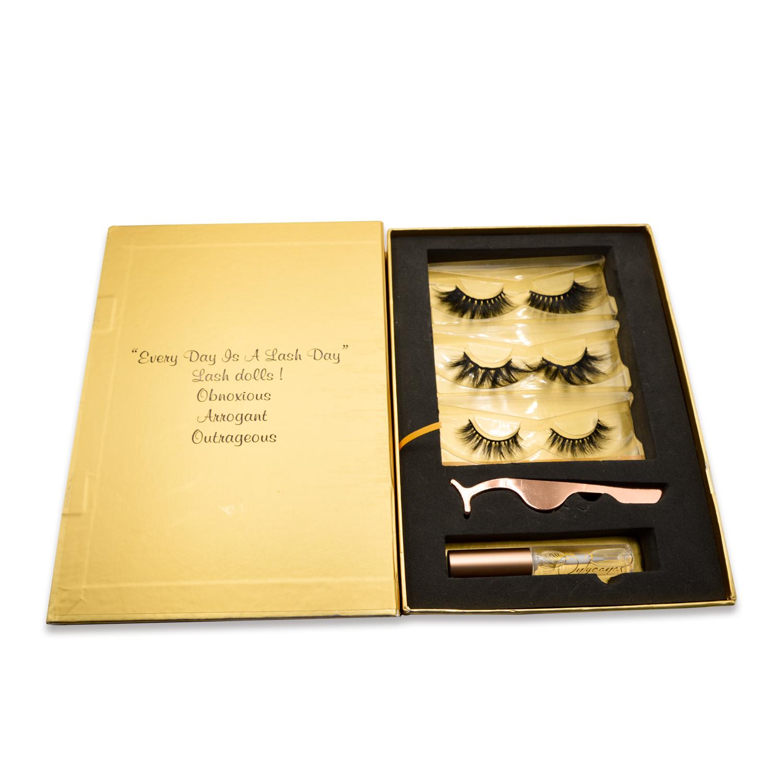 gold eyelashes kit set